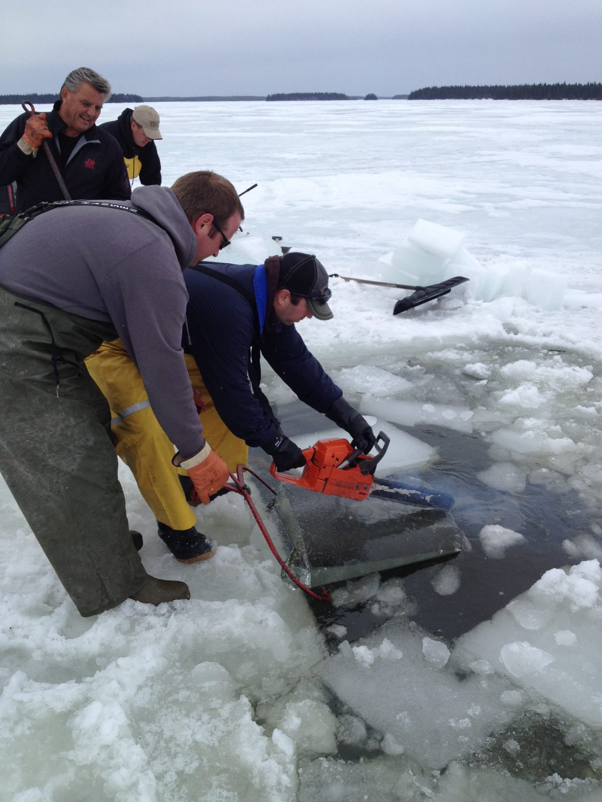 2015 Ice Cutting at Burntwood Lake Lodge